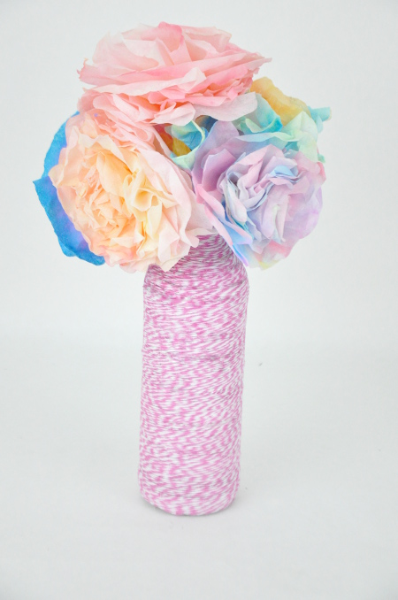 Wrap an old bottle with baker's twine for a spring vase
