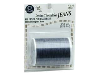 Threads Cotton Covered Polyester Thread: Coats & Clark Dual Duty Plus Denim Thread Card 250yd Blue