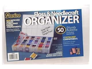 Measuring Tapes/Gauges Yarn Organizers: Darice Organizer 17 Hole Floss & Needlecraft with 50 Cardboard Bobbins