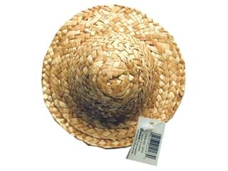 Straw Hat Round Crown 6""