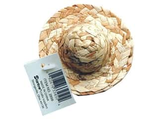"Gardening & Patio Summer: Darice Straw Hat Round Crown 3"" (3 pieces)"