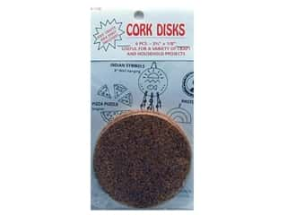 "Hearts & Crafts Cork Disk 3 3/4""x 1/8"" 6 pc"