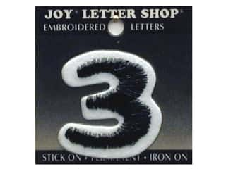 "Appliques Black: Joy Lettershop Iron-On Number ""3"" Embroidered 1 1/2 in. Black"