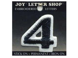 "Joy Black: Joy Lettershop Iron-On Number ""4"" Embroidered 1 1/2 in. Black"