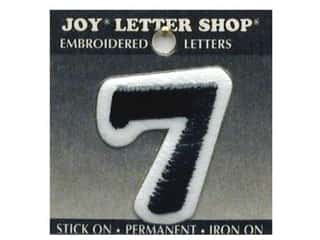 "Joy Black: Joy Lettershop Iron-On Number ""7"" Embroidered 1 1/2 in. Black"