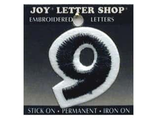 "Joy Black: Joy Lettershop Iron-On Number ""9"" Embroidered 1 1/2 in. Black"