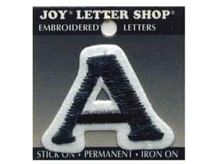 "Wood Sports: Joy Lettershop Iron-On Letter ""A"" Embroidered 1 1/2 in. Black"