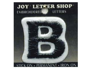"Appliques Black: Joy Lettershop Iron-On Letter ""B"" Embroidered 1 1/2 in. Black"
