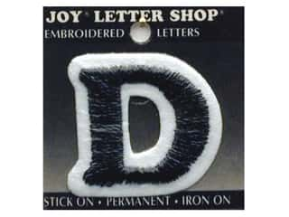 "Joy Black: Joy Lettershop Iron-On Letter ""D"" Embroidered 1 1/2 in. Black"