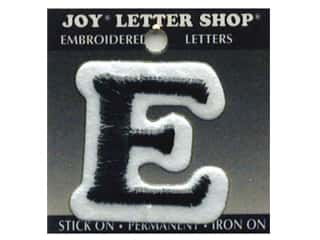 "Joy Black: Joy Lettershop Iron-On Letter ""E"" Embroidered 1 1/2 in. Black"