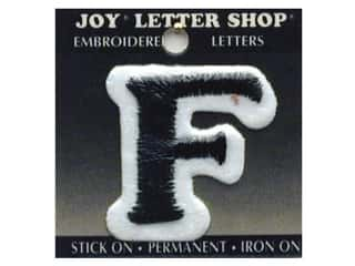 "Joy Black: Joy Lettershop Iron-On Letter ""F"" Embroidered 1 1/2 in. Black"
