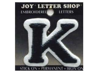 "Iron-On Letter ""K"" Embroidered 1 1/2 in. Black"