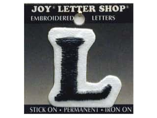 "School Height: Joy Lettershop Iron-On Letter ""L"" Embroidered 1 1/2 in. Black"