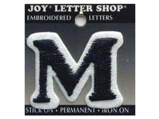 "Iron-On Letter ""M"" Embroidered 1 1/2 in. Black"