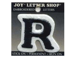"School Height: Joy Lettershop Iron-On Letter ""R"" Embroidered 1 1/2 in. Black"