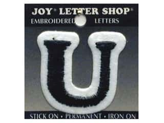 "Joy Black: Joy Lettershop Iron-On Letter ""U"" Embroidered 1 1/2 in. Black"
