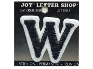 "Joy Black: Joy Lettershop Iron-On Letter ""W"" Embroidered 1 1/2 in. Black"