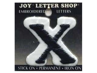 "Glass Sports: Joy Lettershop Iron-On Letter ""X"" Embroidered 1 1/2 in. Black"