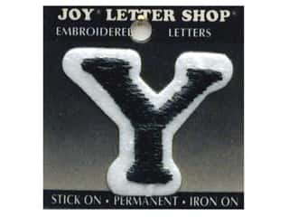 "Y: Iron-On Letter ""Y"" Embroidered 1 1/2 in. Black"