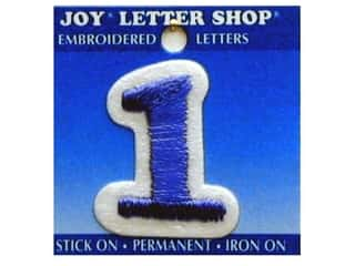 "Sports Joy Letter Shop Iron On Blue: Joy Lettershop Iron-On Number ""1"" Embroidered 1 1/2 in. Blue"