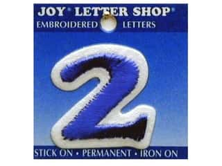 "Irons $2 - $3: Joy Lettershop Iron-On Number ""2"" Embroidered 1 1/2 in. Blue"
