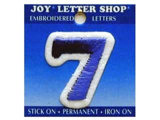 "Sports Joy Letter Shop Iron On Blue: Joy Lettershop Iron-On Number ""7"" Embroidered 1 1/2 in. Blue"