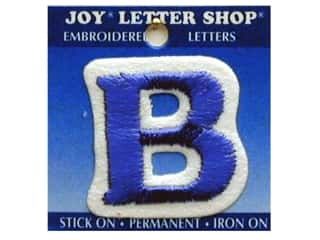 "Appliques Blue: Joy Lettershop Iron-On Letter ""B"" Embroidered 1 1/2 in. Blue"