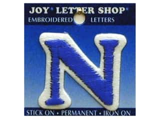 "Sports Joy Letter Shop Iron On Blue: Joy Lettershop Iron-On Letter ""N"" Embroidered 1 1/2 in. Blue"