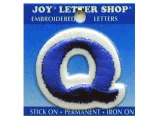 "Sports Joy Letter Shop Iron On Blue: Joy Lettershop Iron-On Letter ""Q"" Embroidered 1 1/2 in. Blue"