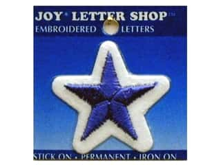 Sports Joy Letter Shop Iron On Blue: Joy Lettershop Iron-On Character Star Embroidered 1 1/2 in. Blue