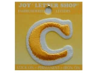 "Irons Joy Letter Shop Iron On Gold: Joy Lettershop Iron-On Letter ""C"" Embroidered 1 1/2 in. Gold"