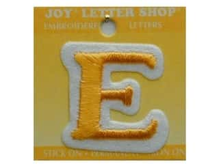 "Sports Irons: Joy Lettershop Iron-On Letter ""E"" Embroidered 1 1/2 in. Gold"