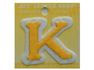 "Iron-On Letter ""K"" Embroidered 1 1/2 in. Gold"