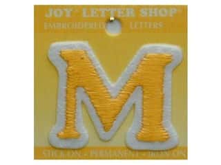 "Iron-On Letter ""M"" Embroidered 1 1/2 in. Gold"