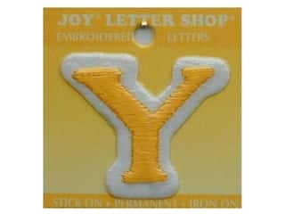 "Y: Iron-On Letter ""Y"" Embroidered 1 1/2 in. Gold"