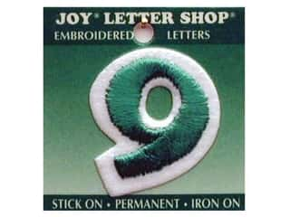 "Scrappin' Sports $8 - $9: Joy Lettershop Iron-On Number ""9"" Embroidered 1 1/2 in. Green"