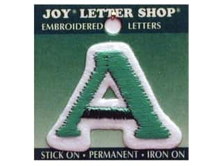 "Joy: Joy Lettershop Iron-On Letter ""A"" Embroidered 1 1/2 in. Green"