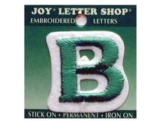 "Joy: Joy Lettershop Iron-On Letter ""B"" Embroidered 1 1/2 in. Green"