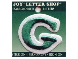 "Glass Sports: Joy Lettershop Iron-On Letter ""G"" Embroidered 1 1/2 in. Green"
