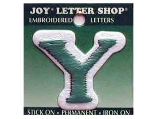 "Y: Iron-On Letter ""Y"" Embroidered 1 1/2 in. Green"