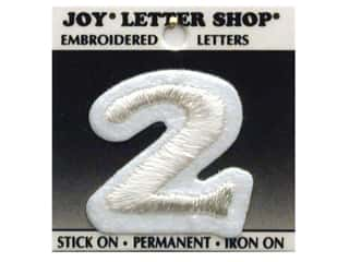 "Appliques Joy Letter Shop Iron On White: Joy Lettershop Iron-On Number  ""2"" Embroidered 1 1/2 in. White"