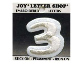 "Sports Irons: Joy Lettershop Iron-On Number  ""3"" Embroidered 1 1/2 in. White"