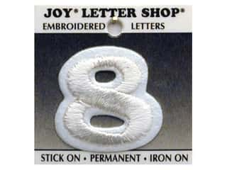 "Iron-On Number  ""8"" Embroidered 1 1/2 in. White"