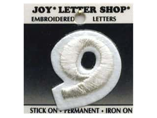 "Scrappin' Sports $8 - $9: Joy Lettershop Iron-On Number  ""9"" Embroidered 1 1/2 in. White"