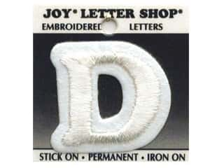 "Glass Sports: Joy Lettershop Iron-On Letter ""D"" Embroidered 1 1/2 in. White"