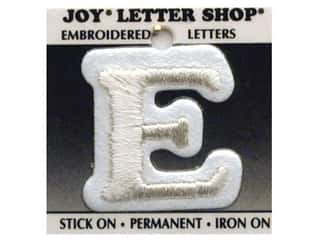 "Iron-On Letter ""E"" Embroidered 1 1/2 in. White"