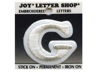 "Joy Lettershop Iron-On Letter ""G"" Embroidered 1 1/2 in. White"