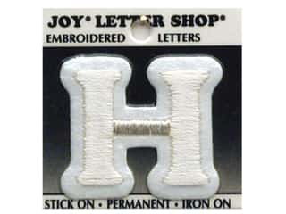 "Wood Sports: Joy Lettershop Iron-On Letter ""H"" Embroidered 1 1/2 in. White"