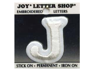 "Iron-On Letter ""J"" Embroidered 1 1/2 in. White"
