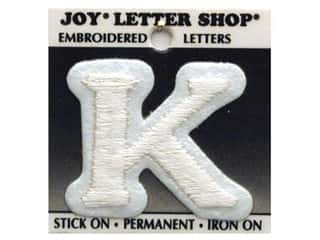 "Appliques Joy Letter Shop Iron On White: Joy Lettershop Iron-On Letter ""K"" Embroidered 1 1/2 in. White"